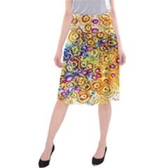 Canvas Acrylic Design Color Midi Beach Skirt