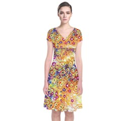 Canvas Acrylic Design Color Short Sleeve Front Wrap Dress