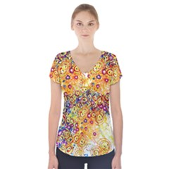 Canvas Acrylic Design Color Short Sleeve Front Detail Top