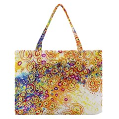 Canvas Acrylic Design Color Medium Zipper Tote Bag