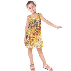 Canvas Acrylic Design Color Kids  Sleeveless Dress