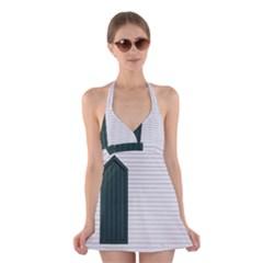 Construction Design Door Exterior Halter Swimsuit Dress