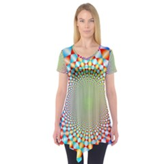 Color Abstract Background Textures Short Sleeve Tunic