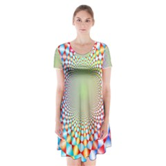 Color Abstract Background Textures Short Sleeve V Neck Flare Dress