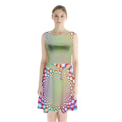 Color Abstract Background Textures Sleeveless Chiffon Waist Tie Dress