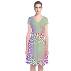 Color Abstract Background Textures Short Sleeve Front Wrap Dress