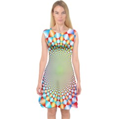 Color Abstract Background Textures Capsleeve Midi Dress