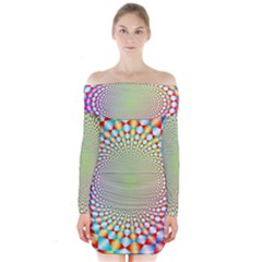 Color Abstract Background Textures Long Sleeve Off Shoulder Dress
