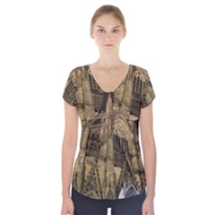 Cologne Church Evening Showplace Short Sleeve Front Detail Top