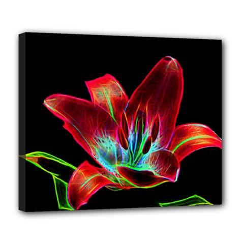 Flower Pattern Design Abstract Background Deluxe Canvas 24  X 20