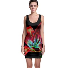 Flower Pattern Design Abstract Background Sleeveless Bodycon Dress