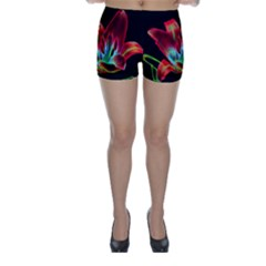 Flower Pattern Design Abstract Background Skinny Shorts