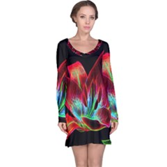 Flower Pattern Design Abstract Background Long Sleeve Nightdress