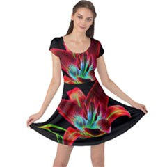 Flower Pattern Design Abstract Background Cap Sleeve Dresses