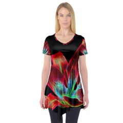 Flower Pattern Design Abstract Background Short Sleeve Tunic
