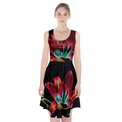 Flower Pattern Design Abstract Background Racerback Midi Dress