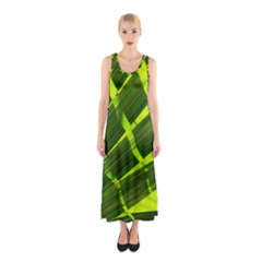 Frond Leaves Tropical Nature Plant Sleeveless Maxi Dress