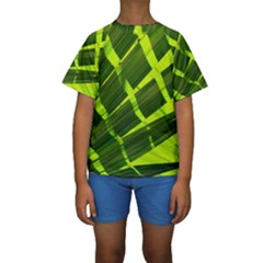 Frond Leaves Tropical Nature Plant Kids  Short Sleeve Swimwear