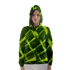Frond Leaves Tropical Nature Plant Hooded Wind Breaker (women)