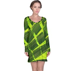 Frond Leaves Tropical Nature Plant Long Sleeve Nightdress