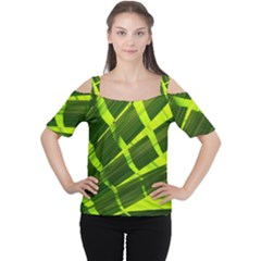 Frond Leaves Tropical Nature Plant Women s Cutout Shoulder Tee