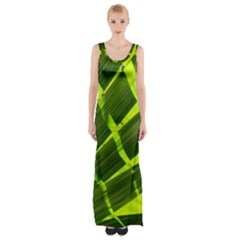 Frond Leaves Tropical Nature Plant Maxi Thigh Split Dress