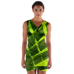 Frond Leaves Tropical Nature Plant Wrap Front Bodycon Dress
