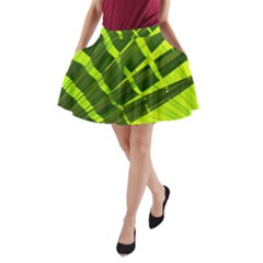 Frond Leaves Tropical Nature Plant A Line Pocket Skirt