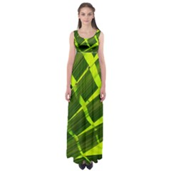 Frond Leaves Tropical Nature Plant Empire Waist Maxi Dress