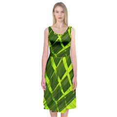 Frond Leaves Tropical Nature Plant Midi Sleeveless Dress