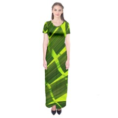 Frond Leaves Tropical Nature Plant Short Sleeve Maxi Dress