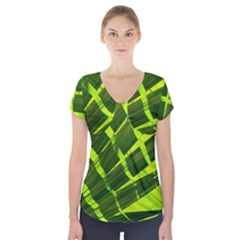 Frond Leaves Tropical Nature Plant Short Sleeve Front Detail Top
