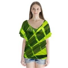 Frond Leaves Tropical Nature Plant Flutter Sleeve Top