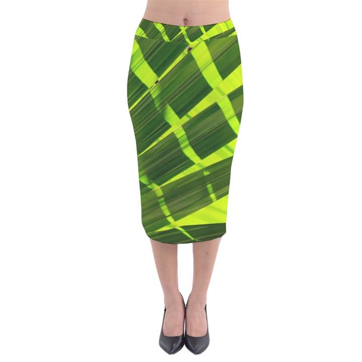 Frond Leaves Tropical Nature Plant Velvet Midi Pencil Skirt