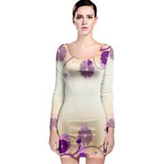 Floral Background Long Sleeve Bodycon Dress