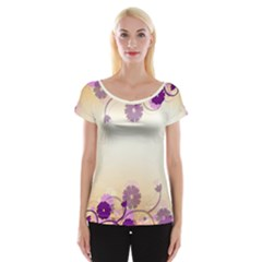 Floral Background Women s Cap Sleeve Top