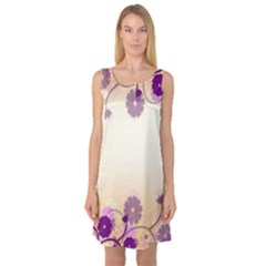Floral Background Sleeveless Satin Nightdress