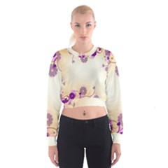 Floral Background Women s Cropped Sweatshirt
