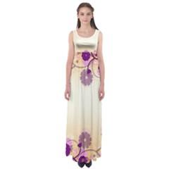 Floral Background Empire Waist Maxi Dress