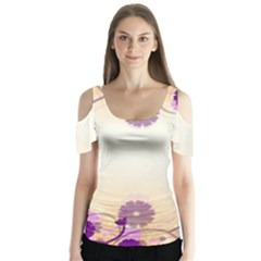 Floral Background Butterfly Sleeve Cutout Tee