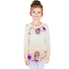 Floral Background Kids  Long Sleeve Tee