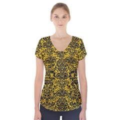 DMS2 BK-YL MARBLE (R) Short Sleeve Front Detail Top