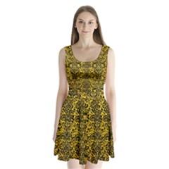DMS2 BK-YL MARBLE (R) Split Back Mini Dress
