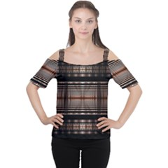 Fractal Art Design Geometry Women s Cutout Shoulder Tee