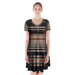 Fractal Art Design Geometry Short Sleeve V-neck Flare Dress