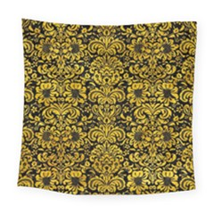 Damask2 Black Marble & Yellow Marble Square Tapestry (large)