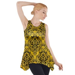 Damask1 Black Marble & Yellow Marble (r) Side Drop Tank Tunic
