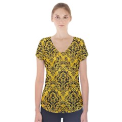 DMS1 BK-YL MARBLE (R) Short Sleeve Front Detail Top