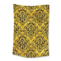 Damask1 Black Marble & Yellow Marble (r) Small Tapestry