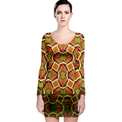 Geometry Shape Retro Trendy Symbol Long Sleeve Bodycon Dress